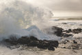 Waves splashing at Thor`s Well