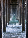 Waves Under A Pier Stock Image