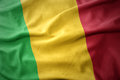 Waving colorful flag of mali. Royalty Free Stock Photo
