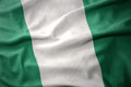 Waving colorful flag of nigeria. Royalty Free Stock Photo