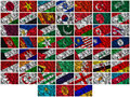 Waving colourful Asia  flags on a silk background Royalty Free Stock Photos