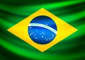 Waving fabric flag of brazil vector background illustration Royalty Free Stock Image