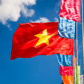 Waving flag of vietnam vietnamese in the wind against blue sky Royalty Free Stock Photos