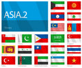 Waving Flags of Asian Countries - Part 2 Royalty Free Stock Photo