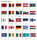 Waving flags of Europe part 1 Royalty Free Stock Photo