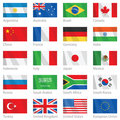 Waving flags of G-20 countries Royalty Free Stock Photo