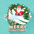 Waving santa claus on the plane iside the christmas wreath with vector illustration sack full of presetns flat style Royalty Free Stock Photos