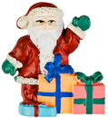 Waving Santa Clause with Christmas Presents Royalty Free Stock Photo