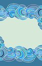 Wavy background border composition in japanese style Royalty Free Stock Photography