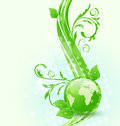 Wavy background with global planet and eco green leaves Stock Images
