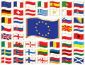 Wavy flags with gold frame - Europe Royalty Free Stock Image
