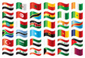 Wavy flags set - Africa & Middle East Royalty Free Stock Photography