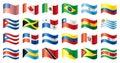 Wavy flags set - America