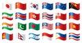 Wavy flags set - Asia & Oceania