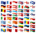 Wavy flags set - Europe Stock Images