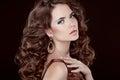 Wavy Hair. Beautiful Sexy Brunette Woman. Healthy Long Brown Hair