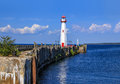 The Wawatam Lighthouse on the Straits of Mackinac Royalty Free Stock Photo