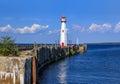 The Wawatam Lighthouse on the Straits of Mackinac Royalty Free Stock Photo