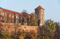 Wawel castle in autumn krakow poland and sandomierska tower fall cracow Stock Photography