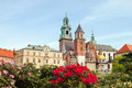 Wawel castle with flowers Royalty Free Stock Photo