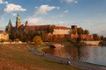 The wawel castle gothic by vistula river on october in krakow poland at sunset Royalty Free Stock Images