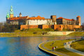 Wawel castle and Vistula boulevards, Cracow,Poland Royalty Free Stock Image