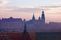 Wawel hill with castle in krakow at sunset Royalty Free Stock Photography
