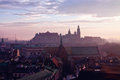 Wawel hill with castle in krakow at sunset Stock Photos