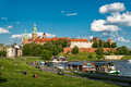 Wawel in krakow at the river wisla poland Stock Photos