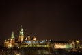 Wawel royal castle and cathedral by night krakow poland Stock Photo