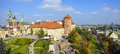 Wawel royal castle in cracow poland panorama of the inner courtyard and part of the city the distance Stock Photos