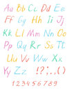 Wax crayon child`s drawing alphabet. Pastel chalk font. ABC drawing letters.