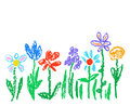 Wax crayon kid`s drawn colorful flowers isolated on white. Child`s drawn pastel chalk blooming flowers set.