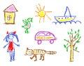 Wax crayon kid`s drawn girl, house, bird, cat, sun, car, tree, ship isolated on white.