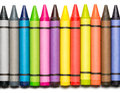 Wax crayons on white multi colored Royalty Free Stock Photography