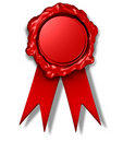 Wax seal crest red ribbon award Stock Images