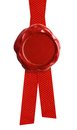 Wax seal or signet with red ribbon isolated Royalty Free Stock Photo