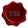 Wax seal red with yes written on it Stock Photography