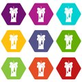 Waxen candle icon set color hexahedron Royalty Free Stock Photo