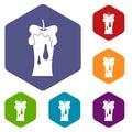 Waxen candle icons set hexagon Royalty Free Stock Photo