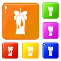Waxen candle icons set vector color Royalty Free Stock Photo