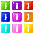 Waxy candle icons 9 set