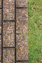 Way brick and green grass background Stock Photography