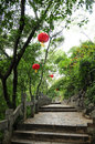 Way chinese lamp on tree in china Royalty Free Stock Photography
