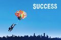 The way to get success businesswoman flying with balloons over cityscape Stock Images