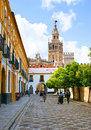 The way to the palace seville spain may giralda view from patio de banderas courtyard of flags street leads royal alcazars of Stock Photography