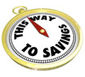 This way to savings compass sale clearance blowout the words on a golden advertise a special or event where a shopper can save big Royalty Free Stock Photos
