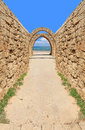 Way to the sea ancient arch mediterranean caesarea israel Royalty Free Stock Images