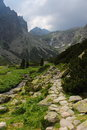 Way to terry s cottage mountain valley with at high tatras at slovakia Stock Image