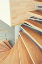 Way up and down - wood stairs Royalty Free Stock Photo
